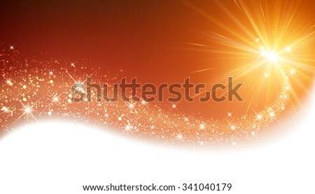 Orange sparkling card with petard. Vector illustration. - stock vector