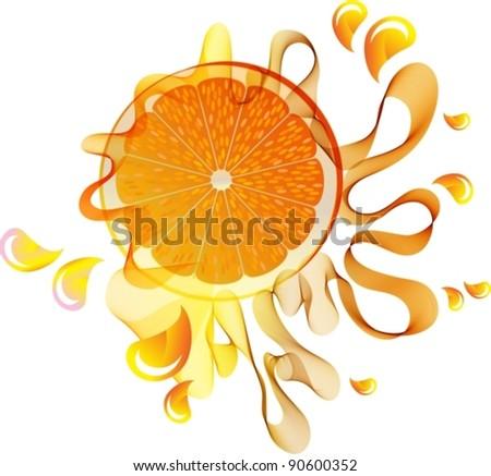Orange splash with abstract wave, vector, eps10 - stock vector