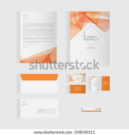 Orange Stationery Template Design for Your Business | Modern Vector Design - stock vector