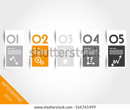 orange stickers with numbers and shadow. infographic concept. - stock vector
