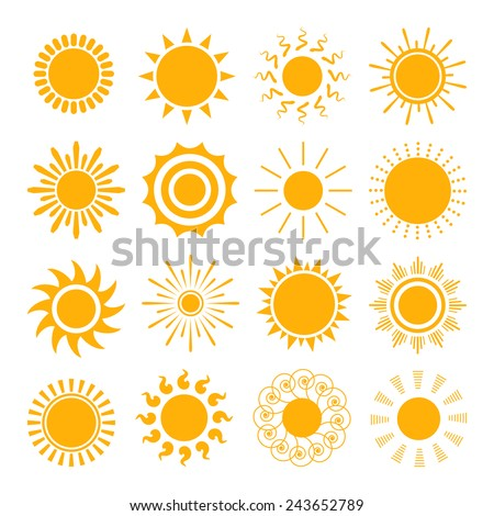 Orange Sun icons. The sun sets straight, florid and twisted rays on white background. Vector illustration - stock vector