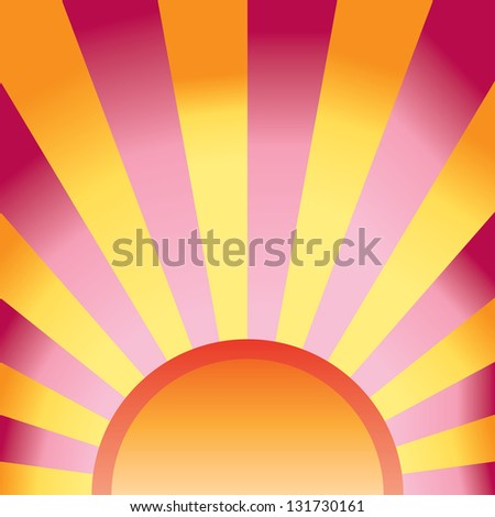 orange sun rays vector background