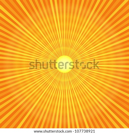 Orange sun with rays background - stock vector