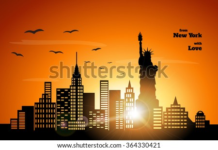 orange sunset in New York, vector illustration - stock vector