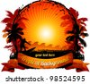 Orange sunset surfing beach banner - stock photo