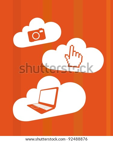 orange technology icons over clouds vector illustration