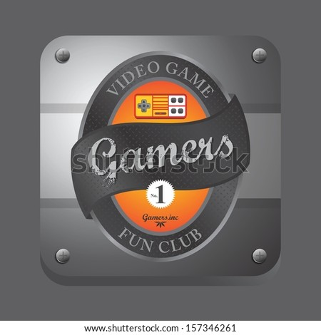 orange theme video game club button label art - stock vector