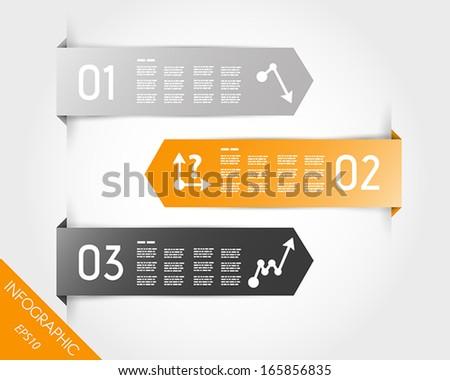 orange three infographic arrow stickers. infographic concept. - stock vector