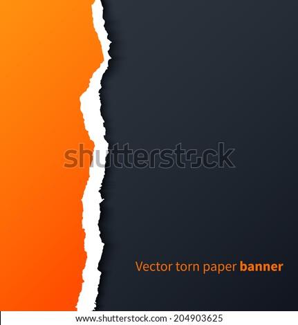 Orange torn paper with drop shadows on dark background. Vector illustration - stock vector