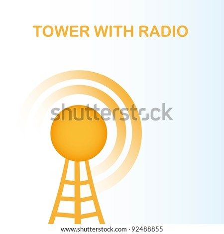 orange tower with radio over blue background. vector illustration