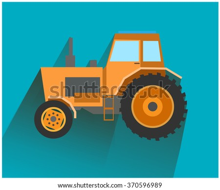 Orange tractor in a flat style on blue background - stock vector