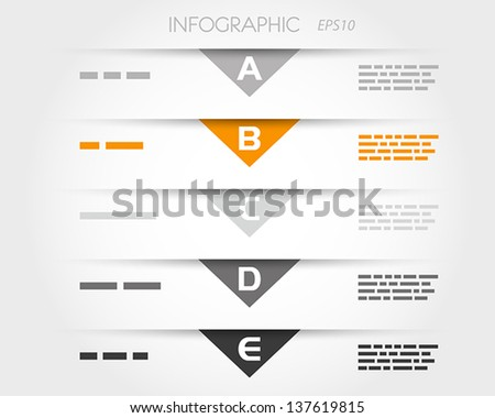 orange transparent triangular infographic five options. infographic concept. - stock vector