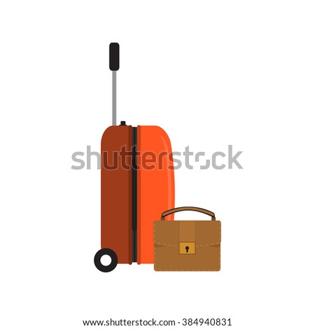 Orange travel plastic suitcase with wheels and briefcase on white background vector illustration.