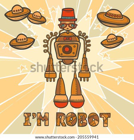 Orange trendy robot hipster retro humanoid with mustaches and space background design poster vector illustration - stock vector