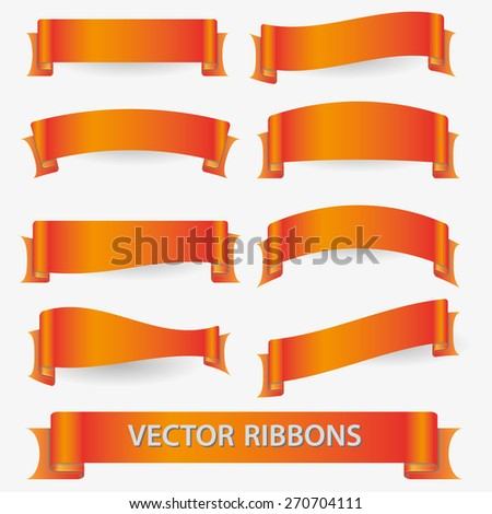 orange various curved empty ribbon banners eps10 - stock vector