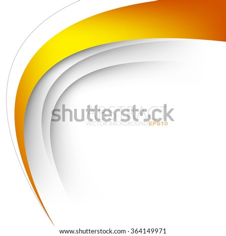 Orange vector background white curve line paper overlap layer with space for text and message artwork background design - stock vector