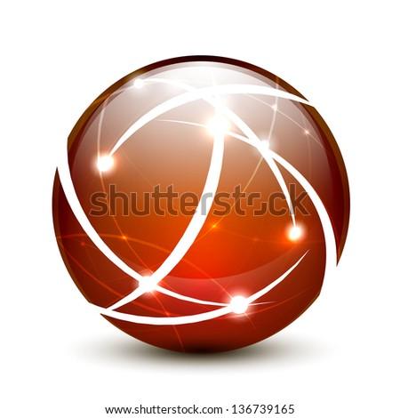 Orange vector communication globe icon concept design - stock vector