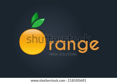 Orange vector icon. Fruit & global business sign. Worldwide, creativity, energy, button concept. Corporate logo design template for modern technology, innovative solutions or fruit sales. Editable - stock vector