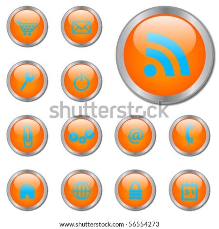 Orange Vector Web Buttons - stock vector