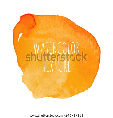 Orange watercolor background with swirls and the inscription - stock vector