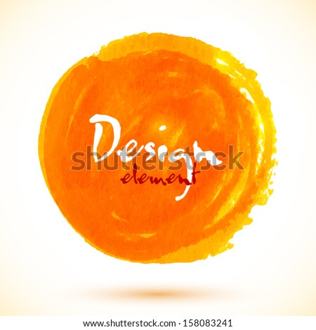 Orange watercolor paint vector circle - stock vector