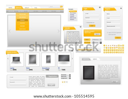 Orange Web Design Frame Vector for site. for sale - stock vector