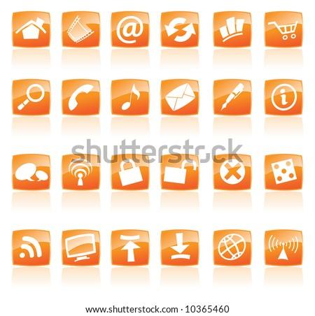 Orange Web Icons - stock vector