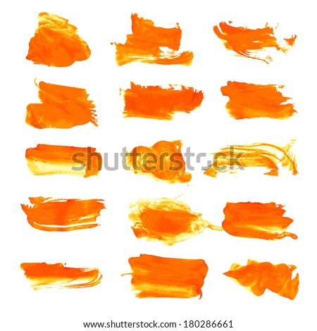 Orange wet paint brush strokes on paper. Vector drawing that is easy to edit and use - stock vector