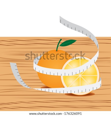 Orange with measure tape and table wood - stock vector