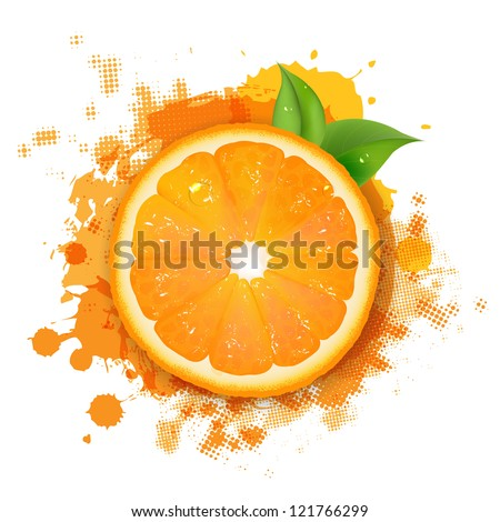 Orange With Orange Blob And Green Leaves Border With Gradient Mesh, Vector Illustration - stock vector