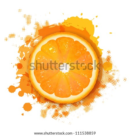 Orange With Orange Blob, Isolated On White Background, Vector Illustration