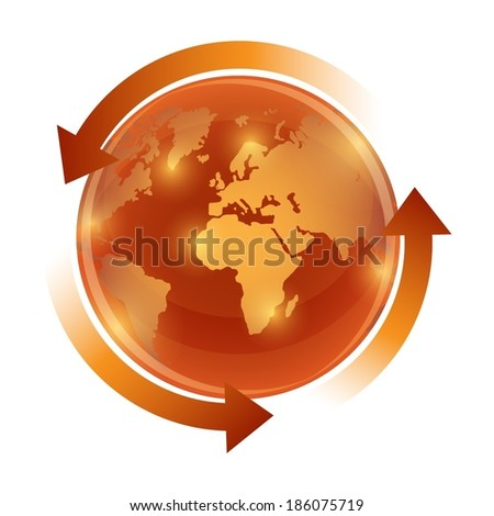 Orange world globe with circulation arrows - stock vector