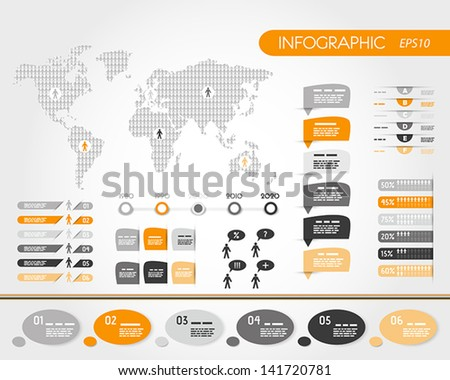 orange world infographics with people.  infographic concept - stock vector