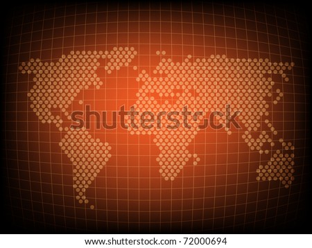 Orange world map - abstract background - stock vector