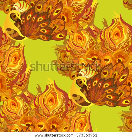 Orange yellow seamless peacock birds pattern background. Peacock birds with fully fanned tail on yellow background. Phoenix golden orange feathers birds seamless pattern background Vector illustration - stock vector