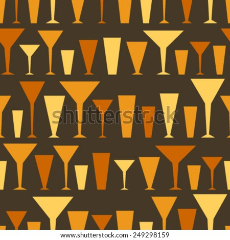 orange yellow silhouette glasses on black seamless pattern - stock vector