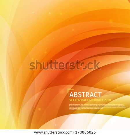 Orange, yellow smooth twist light lines vector background design. Eps 10.  - stock vector
