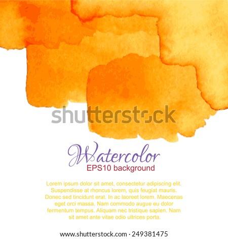 Orange yellow summer watercolor gradient top abstract frame. - stock vector