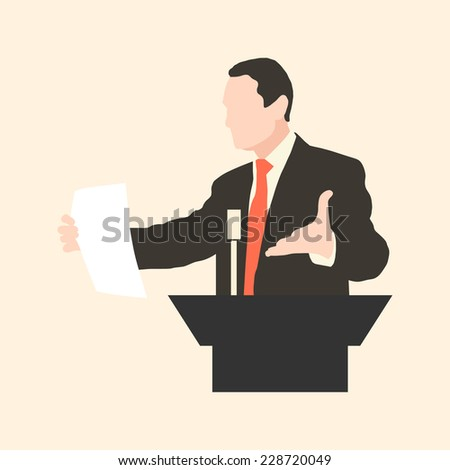 Orator. Silhouette protruding speaker with wide beautiful hand gestures. Orator stands behind a podium with microphones. Presentation and performance before an audience. Vector. Icon. - stock vector