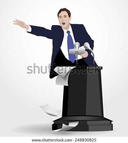 Orator speaks at the podium with microphones. Speaker gestures strong and confident. Speech with strong gestures. A man dressed in a suit. Lecturer, teacher, manager, boss. Image. Vector. Icon. - stock vector