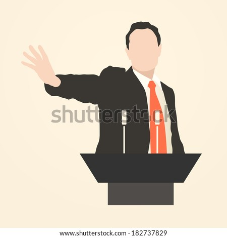 Orator stands behind a podium with microphones.  Speaker makes a report. Presentation and performance. policy, politics, political, news Rhetoric. Oratory, lecturer, business seminar. Vector. Icon. - stock vector