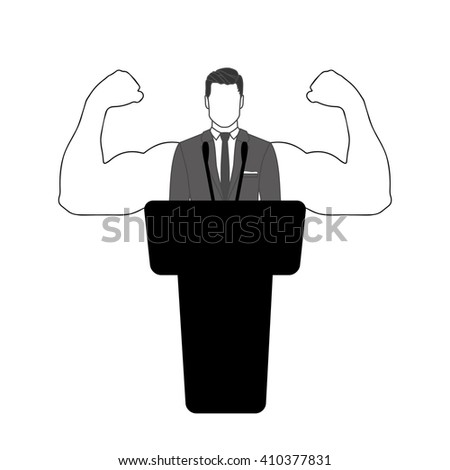 Orator strongly supports the  speech - stock vector