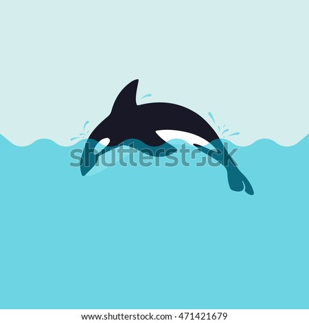 Orca killer whale, flat illustration.