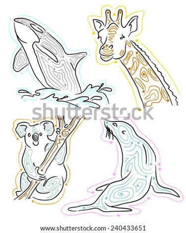 orca killer whale, giraffe, koala, seal vector illustrations - stock vector