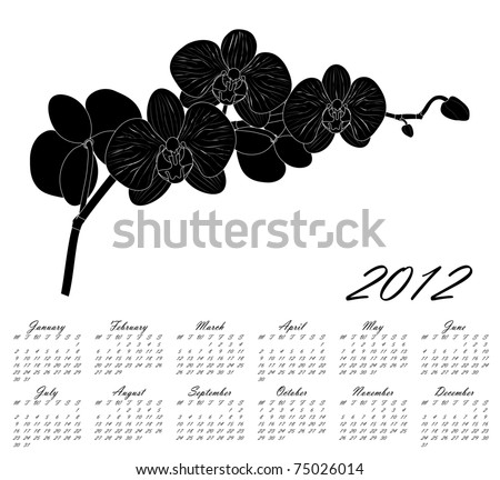 Orchid. 2012 Calendar.Weeks start on Monday. - stock vector