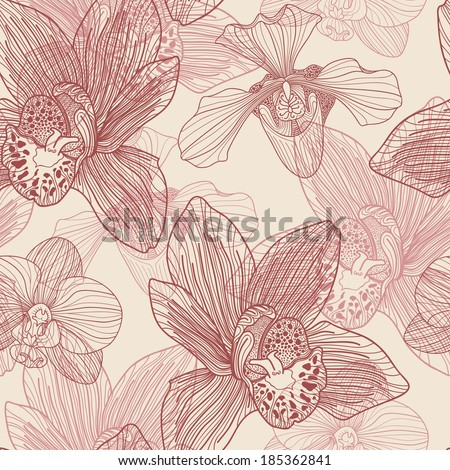 Orchid engraving seamless pattern on beige background