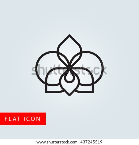 Orchid flower line icon. Flat design