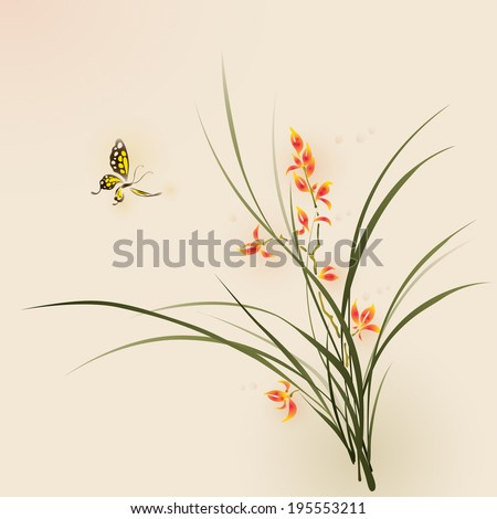 Orchid flowers and butterfly. vectorized brush painting.   - stock vector