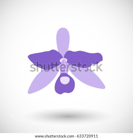 Orchid icon, Flat design of national flower of Costa Rica, vector illustration
