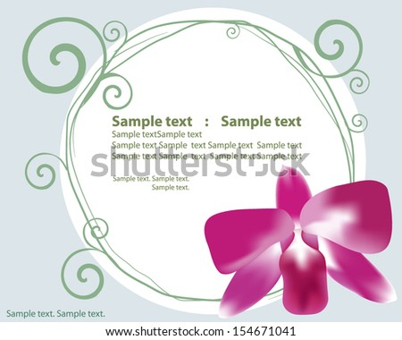 orchid with frame for place some text - stock vector